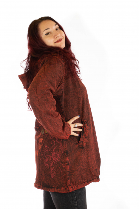 Jacheta de toamna cu print floral - Rosu 2