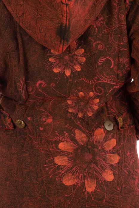 Jacheta de toamna cu print floral - Rosu 6