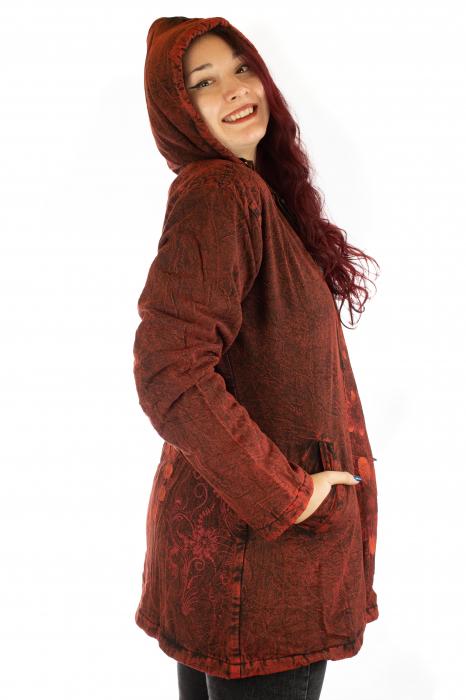 Jacheta de toamna cu print floral - Rosu 1