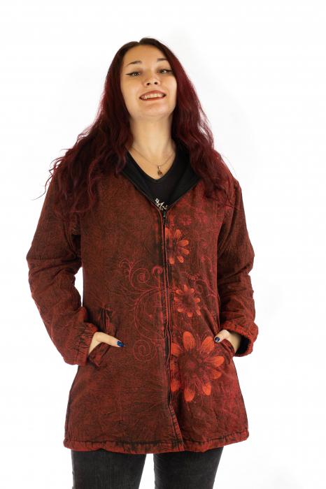 Jacheta de toamna cu print floral - Rosu 0