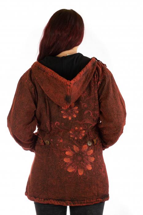Jacheta de toamna cu print floral - Rosu 3