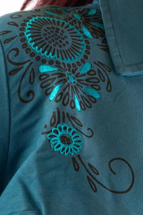 Jacheta de toamna cu broderie - Albastru 3