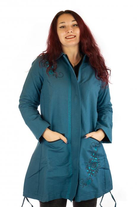 Jacheta de toamna cu broderie - Albastru 0