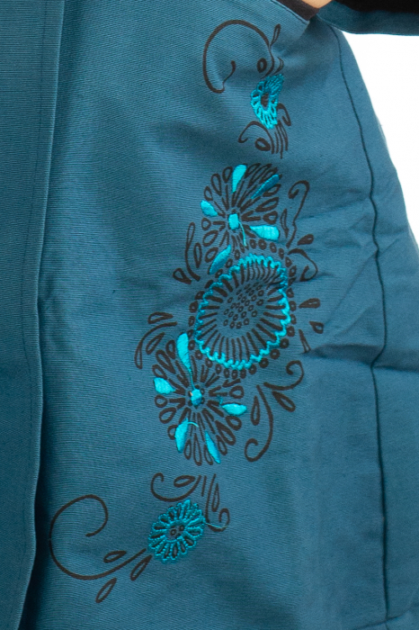 Jacheta de toamna cu broderie - Albastru 4