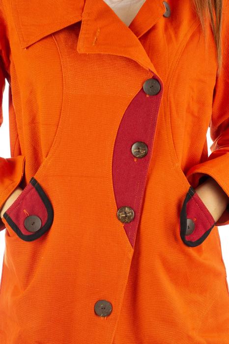 Jacheta de toamna cu nasturi - Portocalie 3