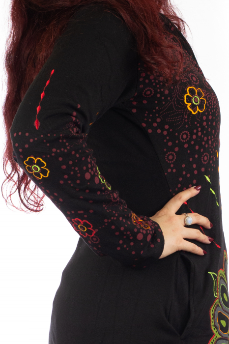 Jacheta de toamna cu print floral - Negru 4