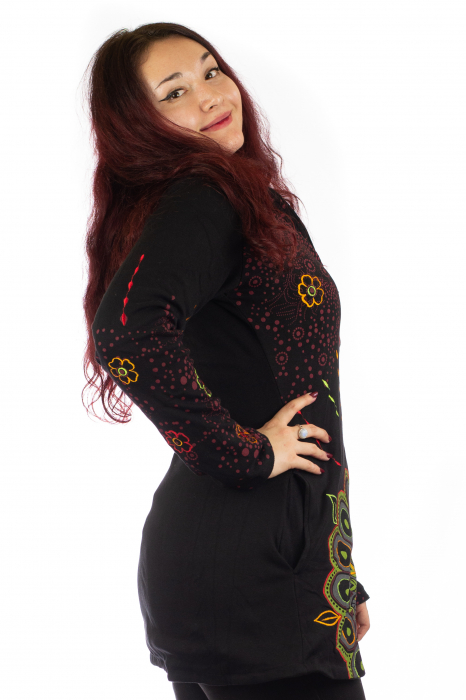 Jacheta de toamna cu print floral - Negru 3