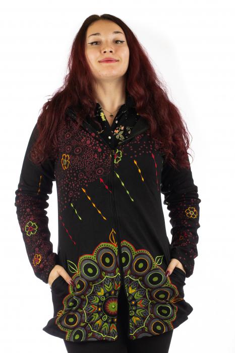 Jacheta de toamna cu print floral - Negru 0