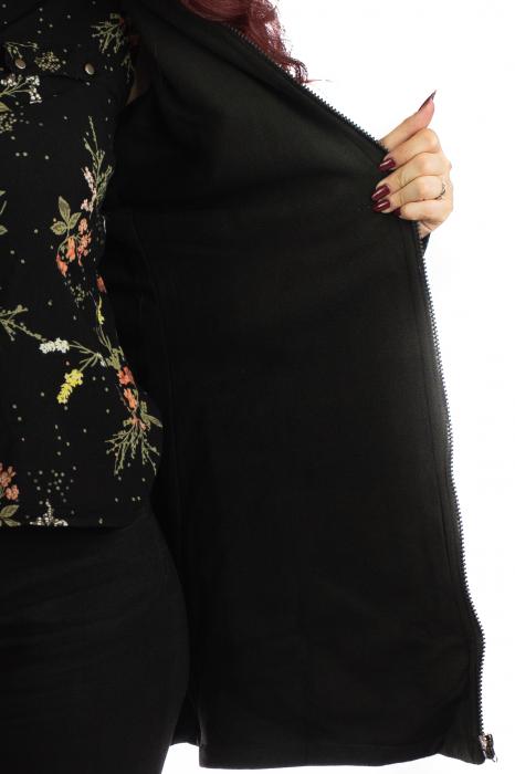 Jacheta de toamna cu print floral - Negru 1