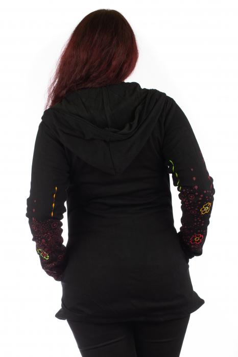 Jacheta de toamna cu print floral - Negru 5