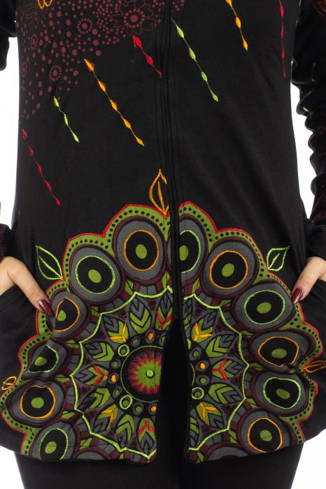 Jacheta de toamna cu print floral - Negru 2