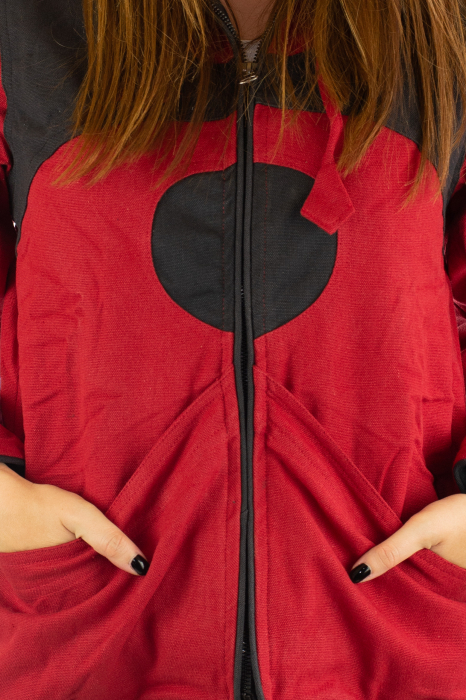 Jacheta de toamna din bumbac - Black & Red 7