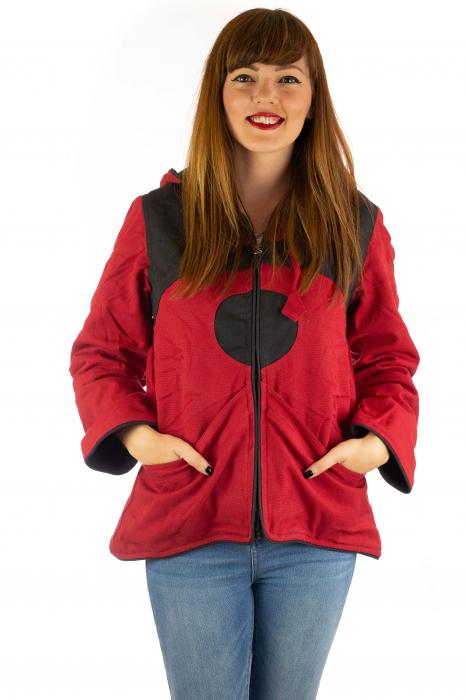 Jacheta de toamna din bumbac - Black & Red 0
