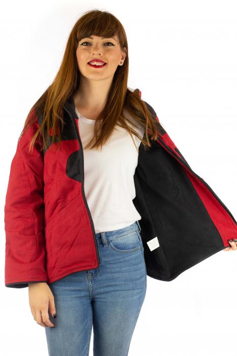 Jacheta de toamna din bumbac - Black & Red 5