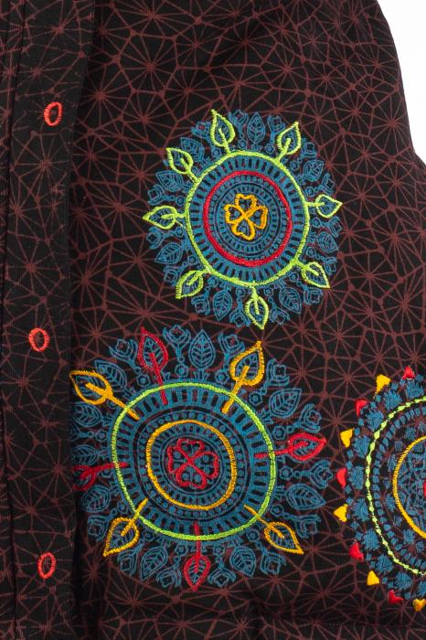 Jacheta de toamna cu print si broderie - Visiniu JKT05 6