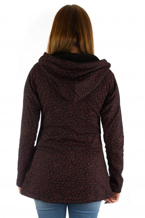 Jacheta de toamna cu print si broderie - Visiniu JKT05 3