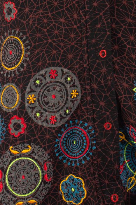 Jacheta de toamna cu print si broderie - Visiniu JKT05 7
