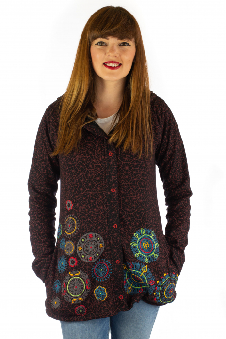 Jacheta de toamna cu print si broderie - Visiniu JKT05 0