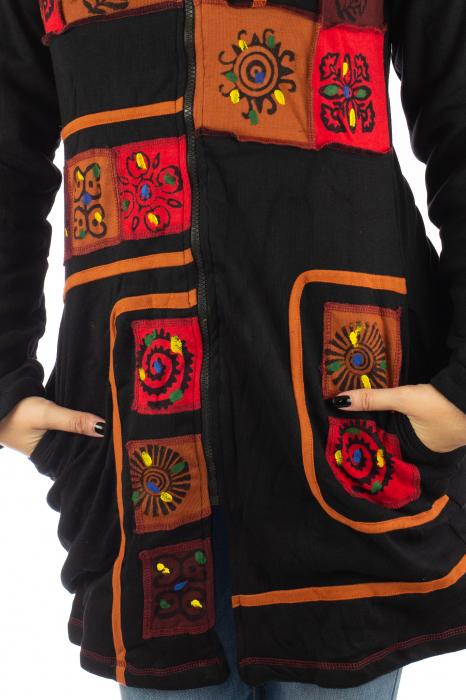 Jacheta de toamna cu print manual - Negru [4]