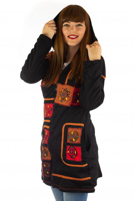 Jacheta de toamna cu print manual - Negru [1]