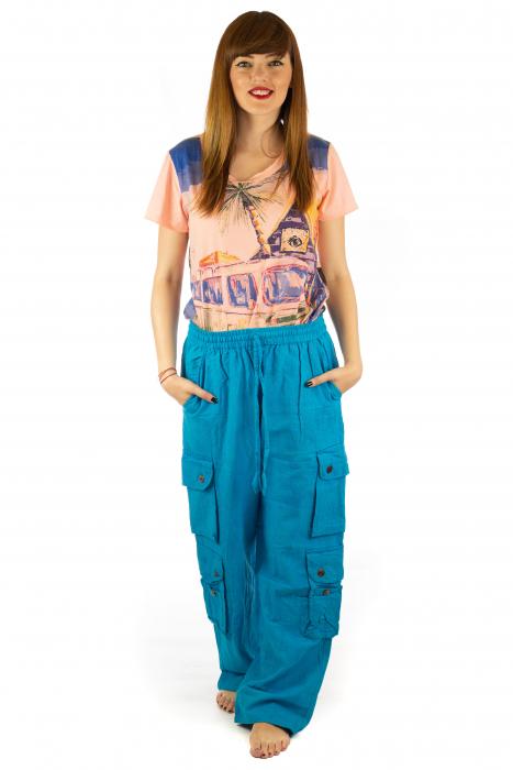 Pantaloni din bumbac cu buzunare - Albastru 1