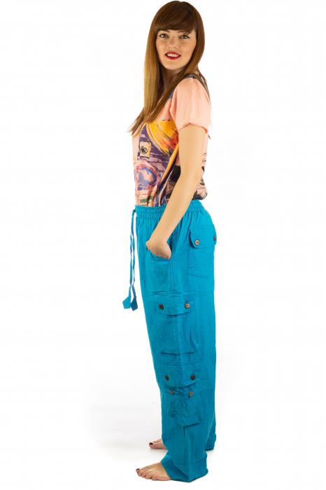 Pantaloni din bumbac cu buzunare - Albastru 2