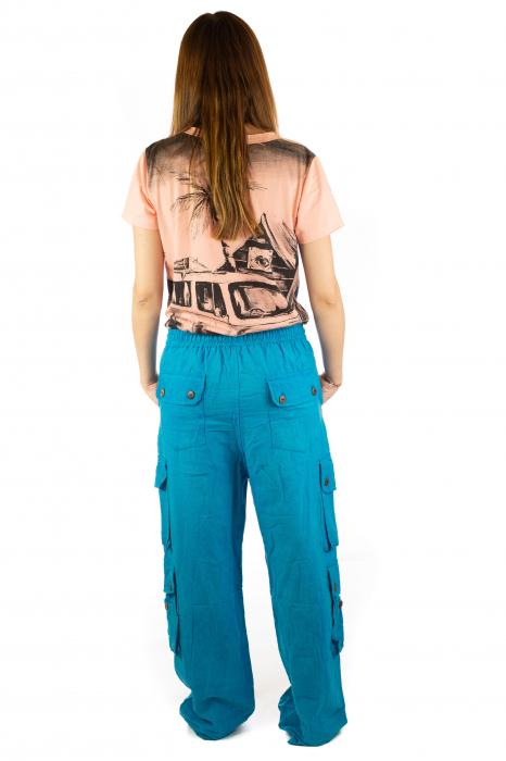 Pantaloni din bumbac cu buzunare - Albastru 6
