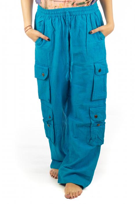 Pantaloni din bumbac cu buzunare - Albastru 0