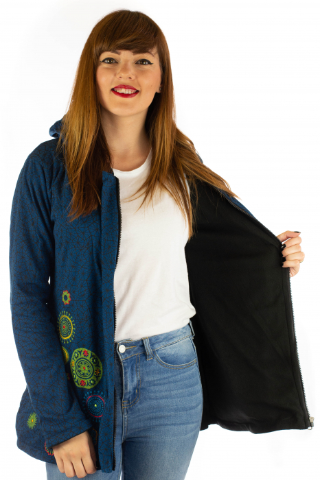 Jacheta de toamna cu print si broderie - Bleumarin JKT05 6