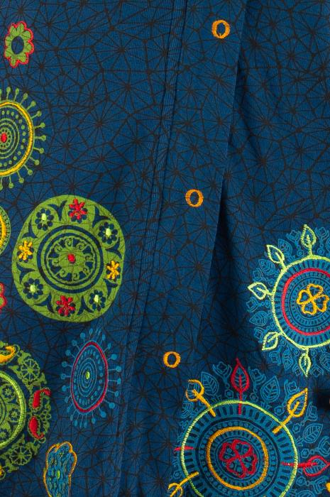 Jacheta de toamna cu print si broderie - Bleumarin JKT05 2