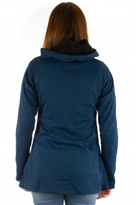 Jacheta de toamna cu print si broderie - Bleumarin JKT05 5
