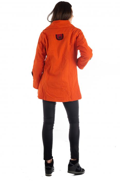 Jacheta de toamna cu nasturi - Portocalie [5]