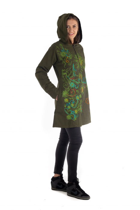 Jacheta de toamna cu print floral - Verde inchis 4