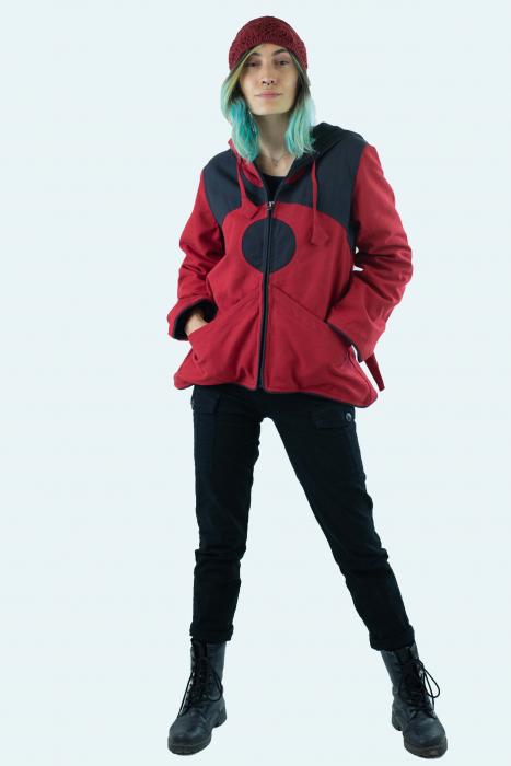 Jacheta de toamna din bumbac - Black & Red [10]