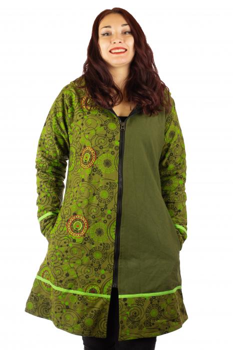 Jacheta de bumbac cu fermoar, print abstract – GREEN 0