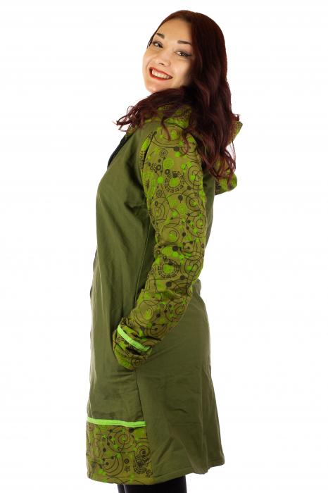 Jacheta de bumbac cu fermoar, print abstract – GREEN 1