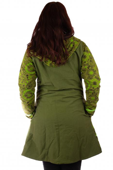 Jacheta de bumbac cu fermoar, print abstract – GREEN 2