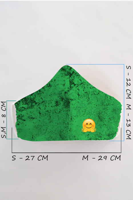 Masca bumbac cu filtru pentru copii - Smiley Verde 1