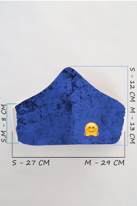 Masca bumbac cu filtru pentru copii - Smiley Albastra 1