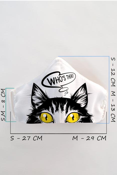 Masca bumbac cu filtru pentru adulti - Pisica 1