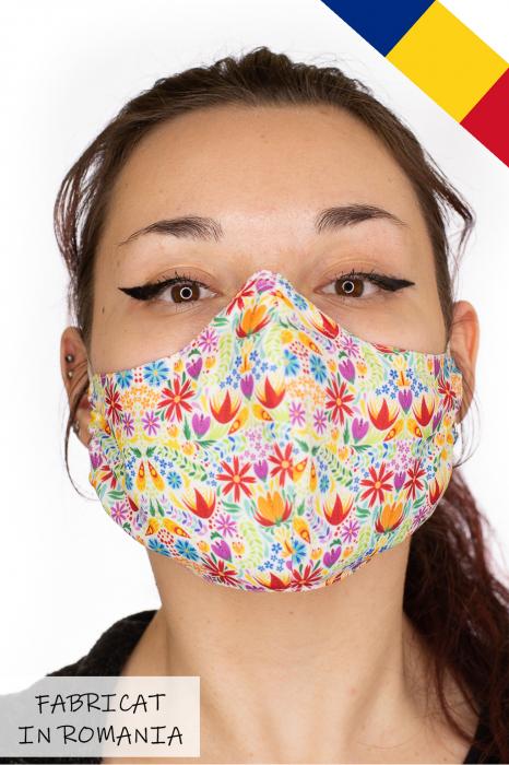 Masca bumbac cu filtru pentru adulti - Flower Frenzy 0