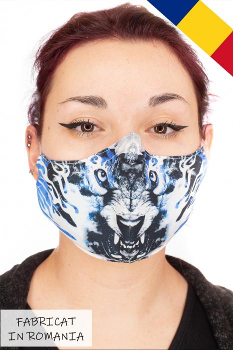 Masca bumbac cu filtru pentru adulti - Blue Wolf 0
