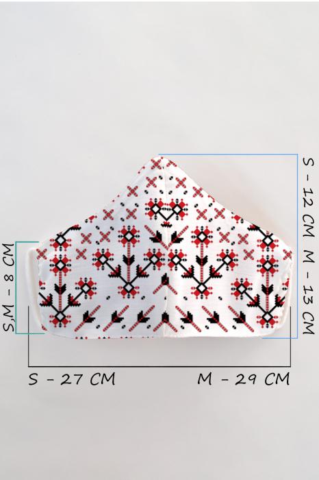 Masca bumbac cu filtru pentru adulti - Motiv Romanesc 1