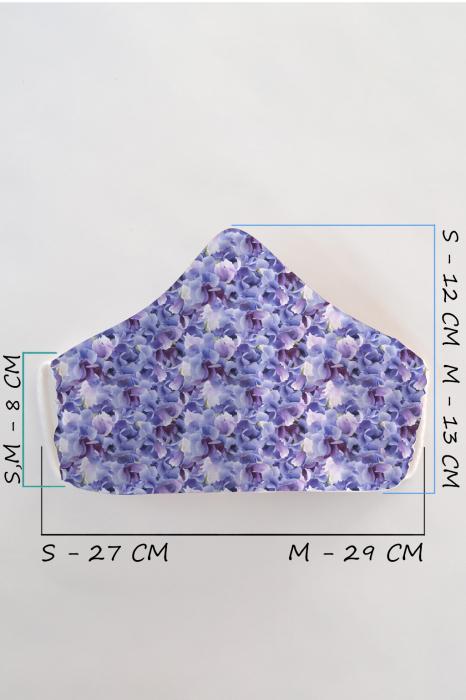 Masca bumbac cu filtru pentru adulti - Floare Liliac 2