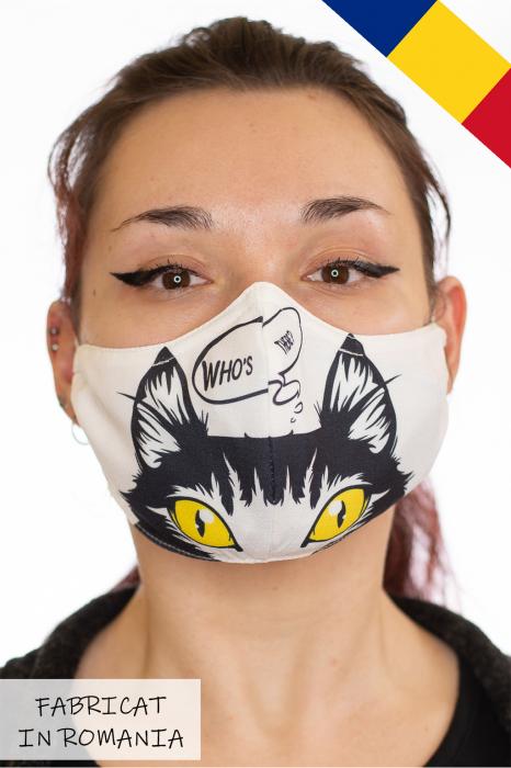 Masca bumbac cu filtru pentru adulti - Pisica 0