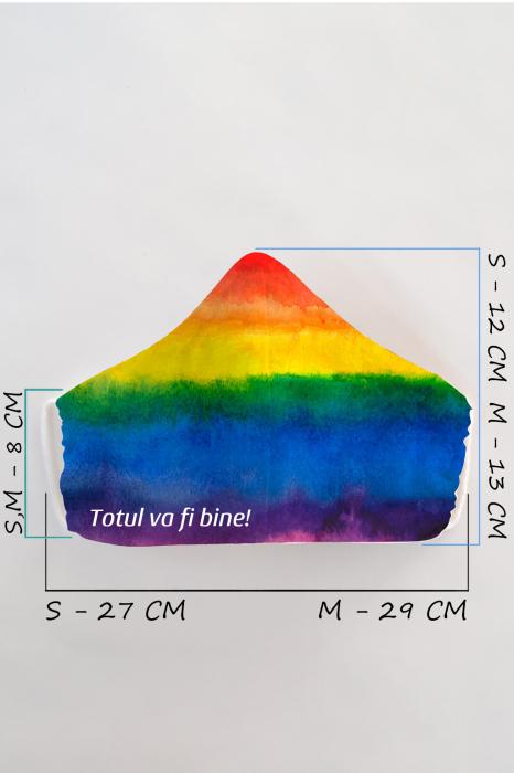 Masca bumbac cu filtru pentru adulti - Curcubeu 2