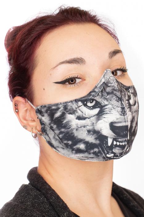Masca bumbac cu filtru pentru adulti - Grey Wolf 1