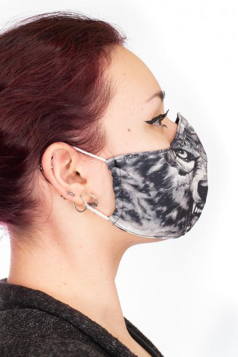 Masca bumbac cu filtru pentru adulti - Grey Wolf 2