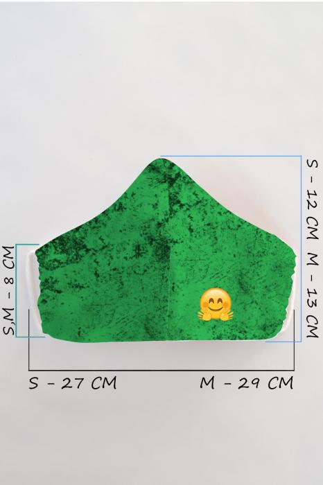 Masca bumbac cu filtru pentru adulti - Smiley Verde 1