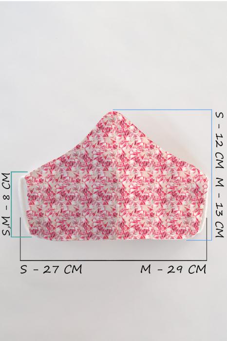 Masca bumbac cu filtru pentru adulti - Roz 1